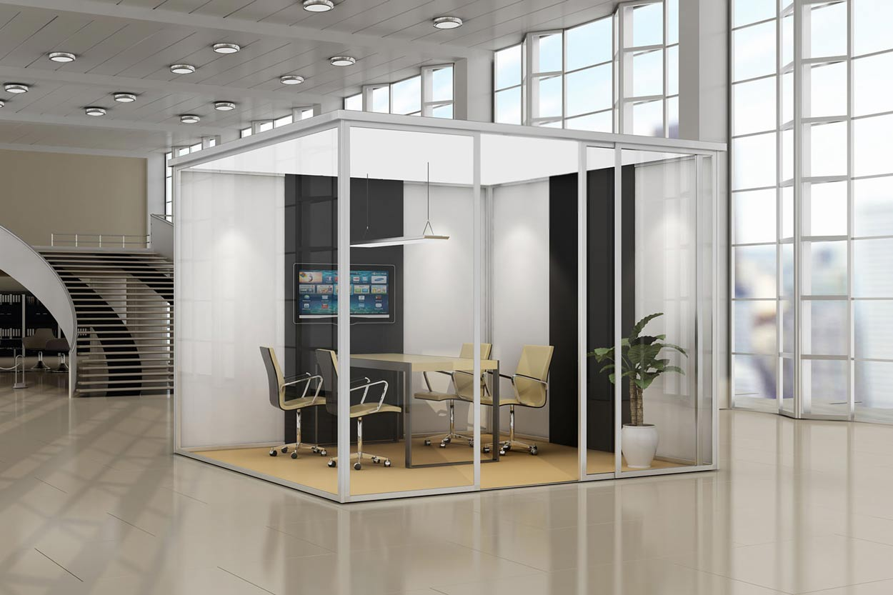 3d render glass cubicle sound proof