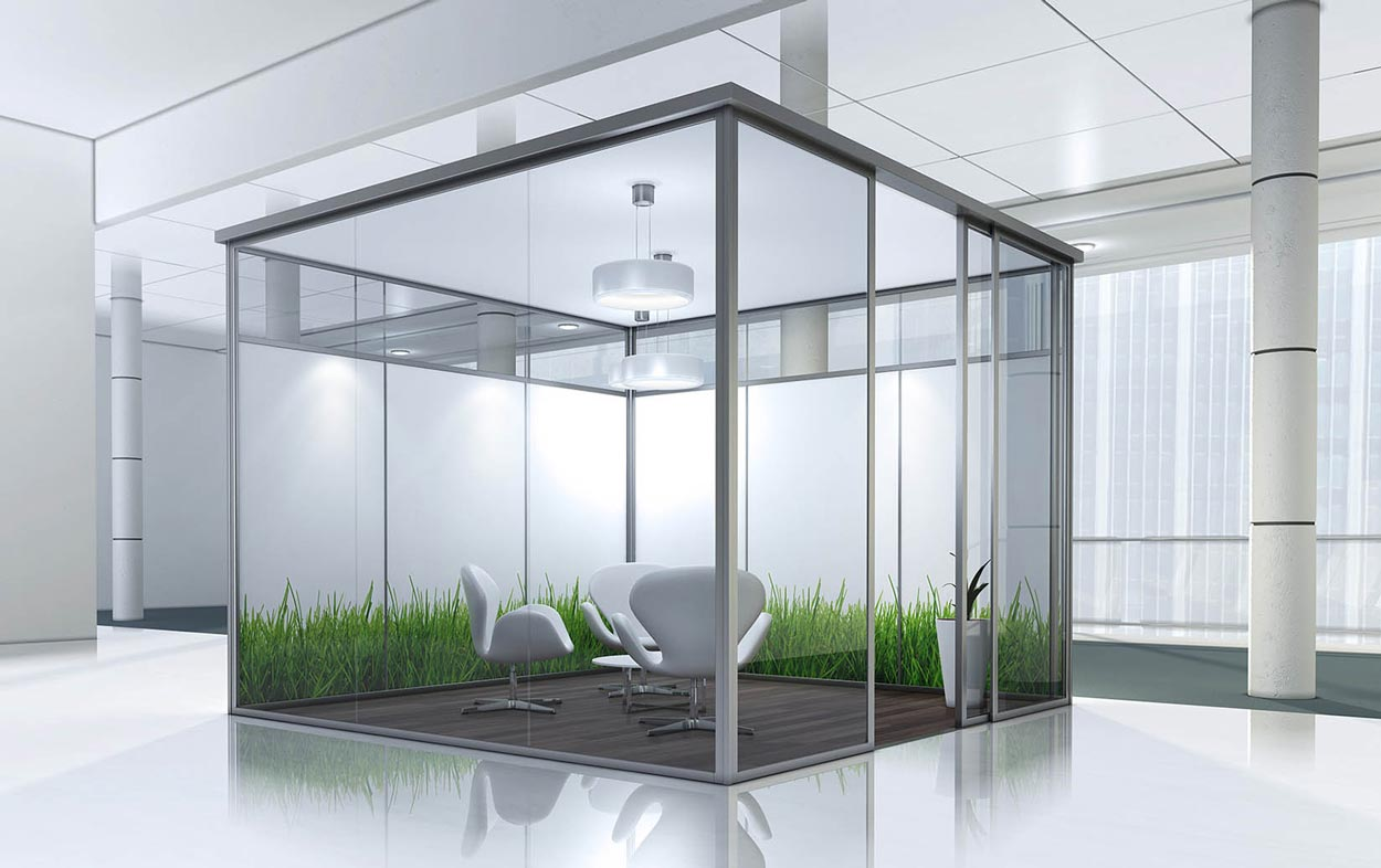 3d render cubicle white armchairs